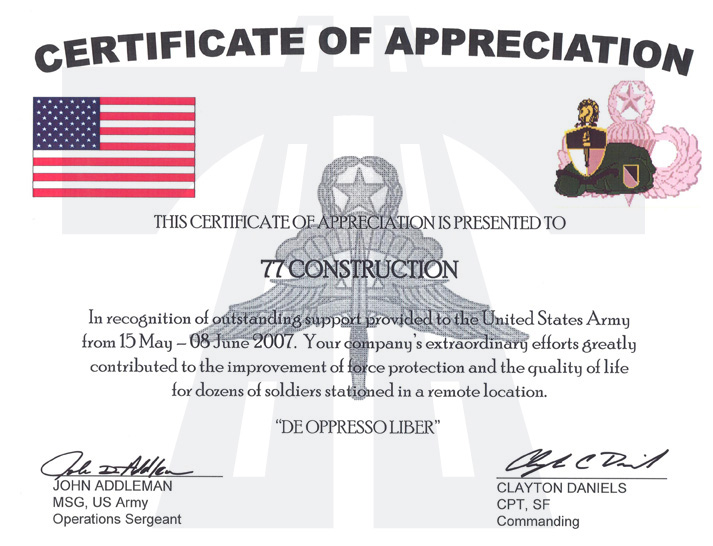 Certificate Of Appreciation Is Presented To 77th Construction In  Recognition Of Outstanding Support Provided To The United States Army From  15 May 08 June ...