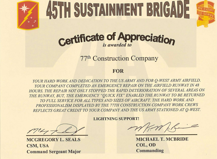 Captivating 77 Construction Oil And Gas Division 45th Sustainment Brigade Certificate  Of Appreciation Is Awarded To 77th With Army Certificate Of Appreciation
